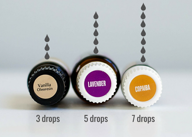 Vanilla, Lavender, and Copaiba essential oil bottles with text overlay - 3 drops, 5 drops, 7 drops