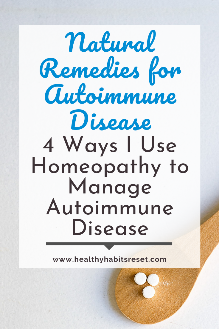 homeopathic remedies on wooden spoon with text overlay - Natural Remedies for Autoimmune Disease: 4 Ways I Use Homeopathy to Manage Autoimmune Disease