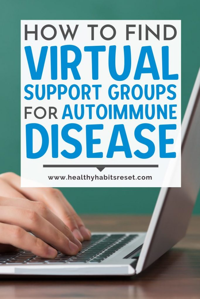 hands typing on keyboard of laptop with text overlay - How to Find Virtual Support Groups for Autoimmune Disease
