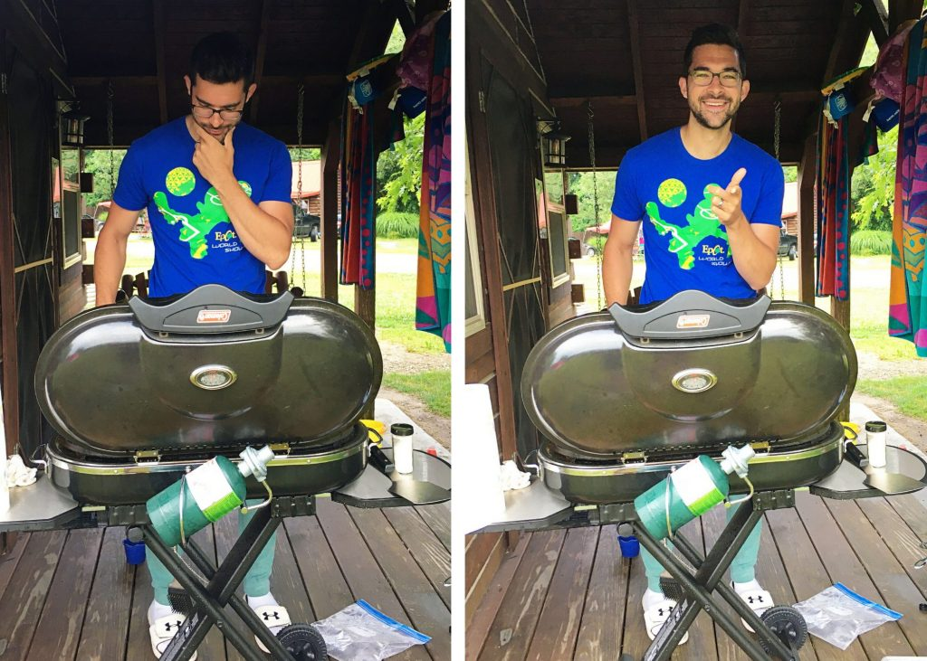 Frank grilling with portable grill