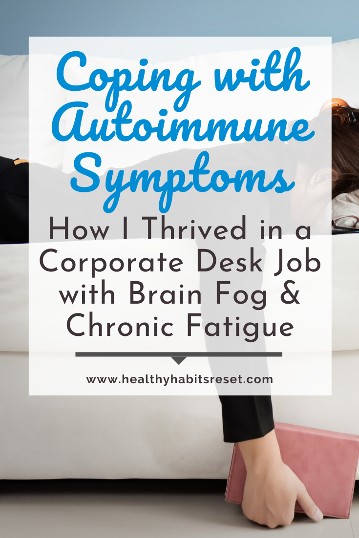 woman face down on couch with text overlay - Coping with Autoimmune Symptoms: How I Thrived in a Corporate Desk Job with Brain Fog and Chronic Fatigue