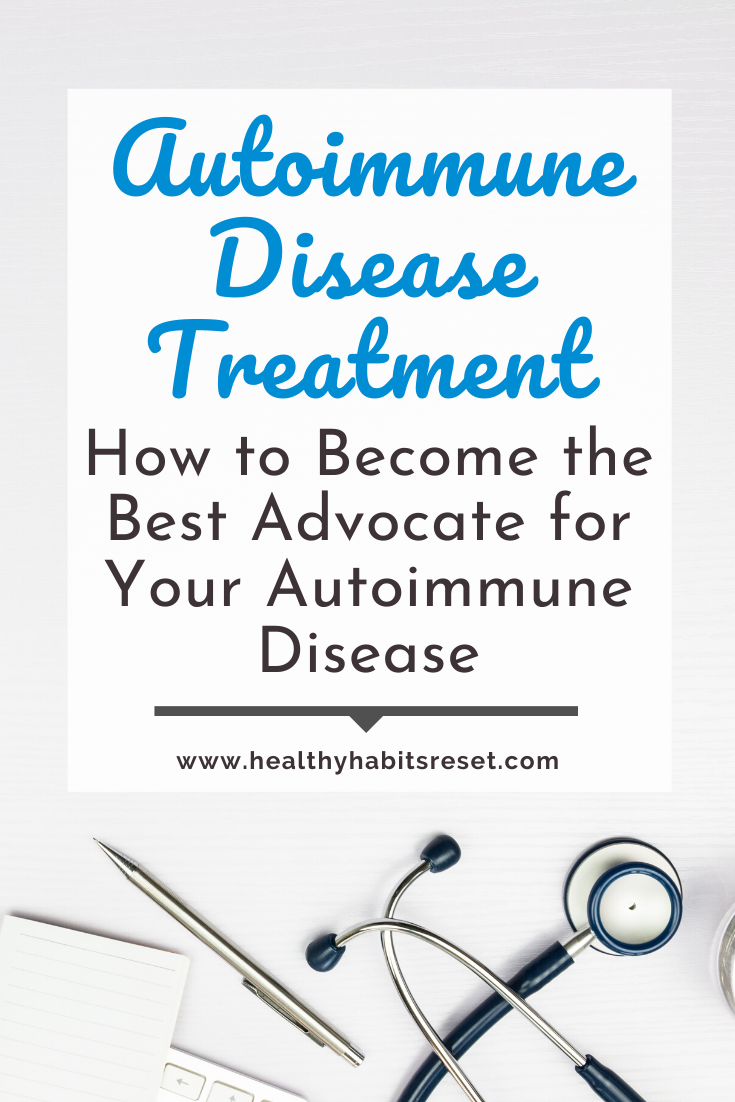 Stethoscope, pen, and keyboard with text overlay - Autoimmune Disease Treatment: How to Become the Best Advocate for Your Autoimmune Disease