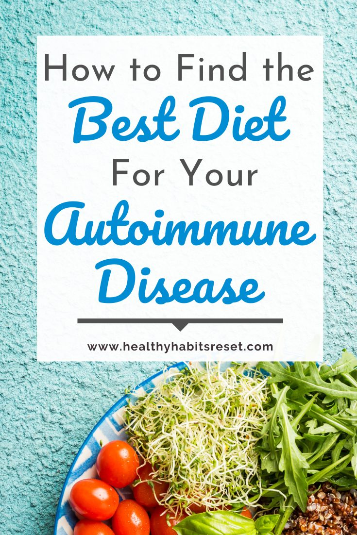 plate of sprouts, tomatoes, lettuce and avocado with text overlay - How to Find the Best Diet for Your Autoimmune Disease