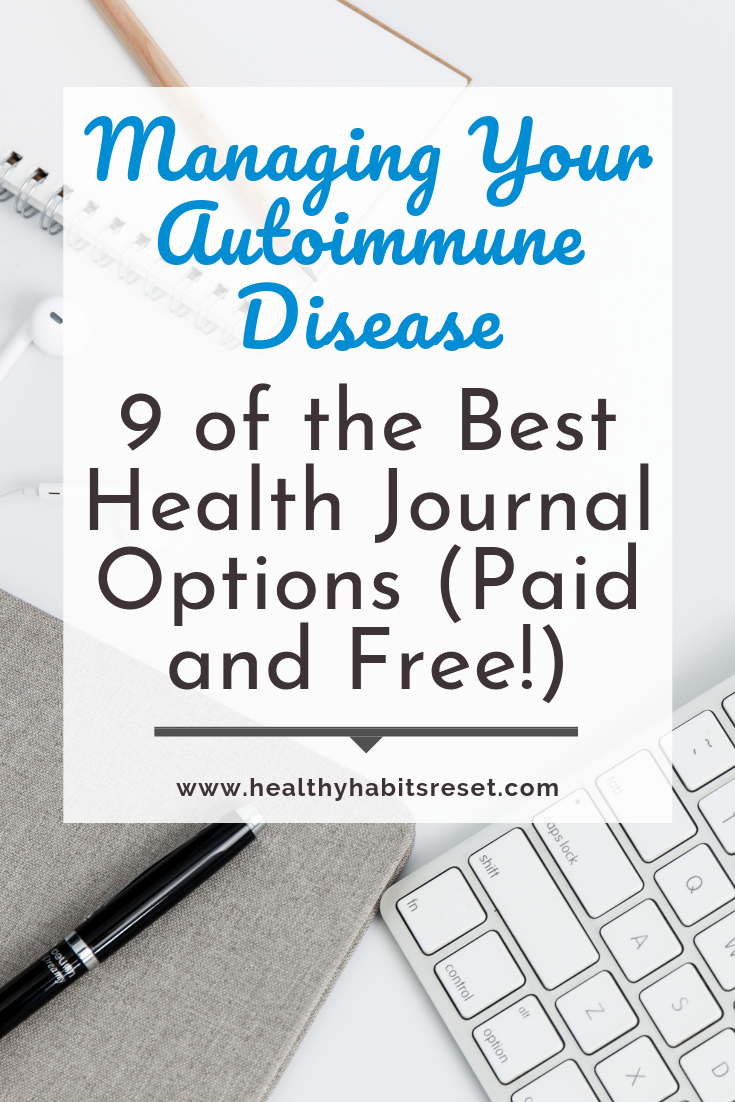 notebook, keyboard, and phone on desk with text overlay - Managing Autoimmune Disease: 9 of the Best Health Journal Options (Paid and Free)
