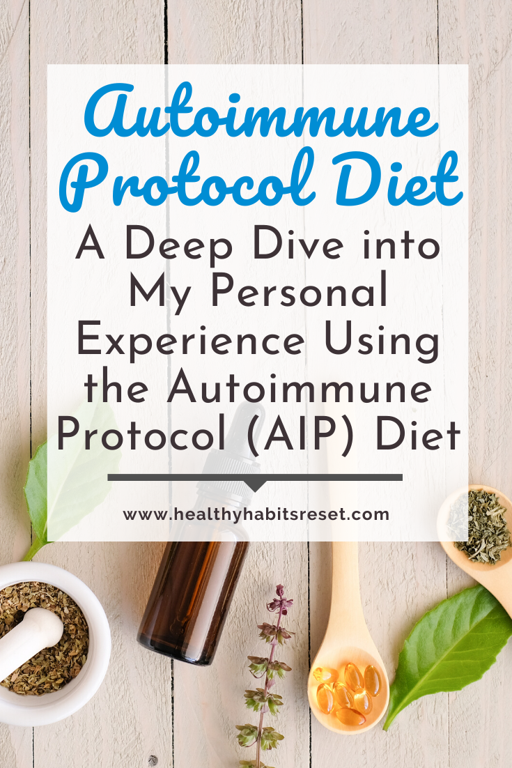supplements, herbs, and amber glass bottle with text overlay - Autoimmune Disease Treatment: A Deep Dive into My Personal Experience Using the Autoimmune Protocol (AIP) Diet