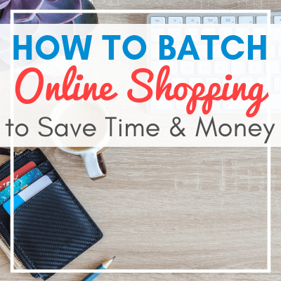 wallet, keyboard, pen, and plant on desk with text overlay - How to Batch Your Online Shopping to Save Time and Money