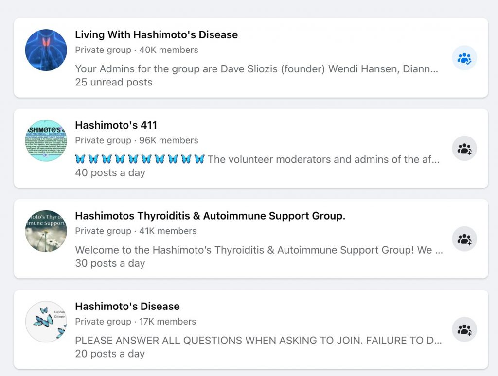 Facebook search group results for Hashimoto's