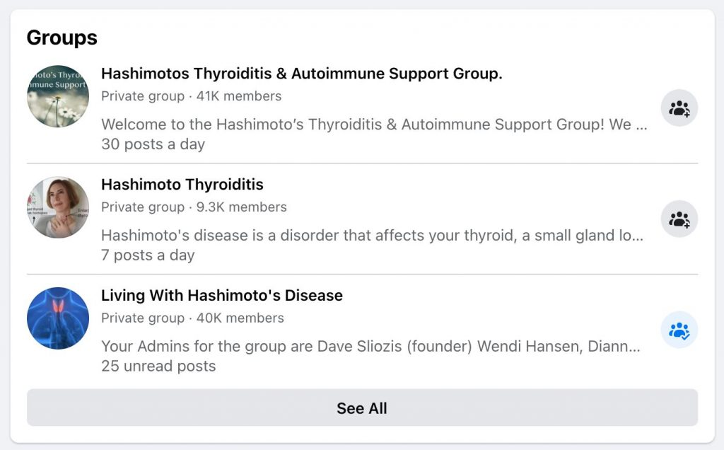Facebook group search results for Hashimoto's Thyroiditis