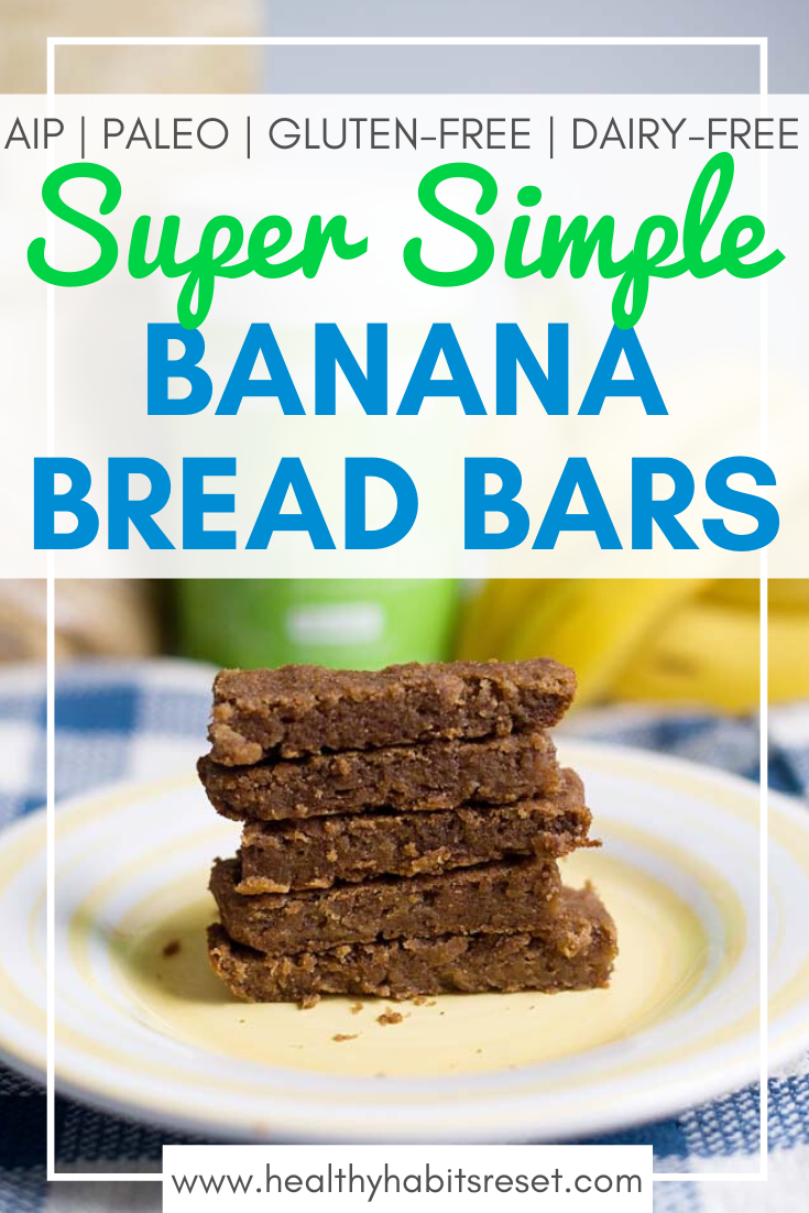plate of banana bread bars with text overlay - Super Simple Banana Bread Bars (Paleo, Gluten-Free, Dairy-Free, AIP)