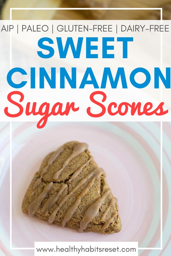 These super simple cinnamon sugar scones are perfect for Sunday brunch. A drizzle of icing and a sprinkle of sugar over top make these easy scones the perfect treat! Plus, they are gluten-free, dairy-free, and Paleo / AIP compliant. #AIPeasyrecipes #AIPdessert #AIPscones #tigernutrecipes