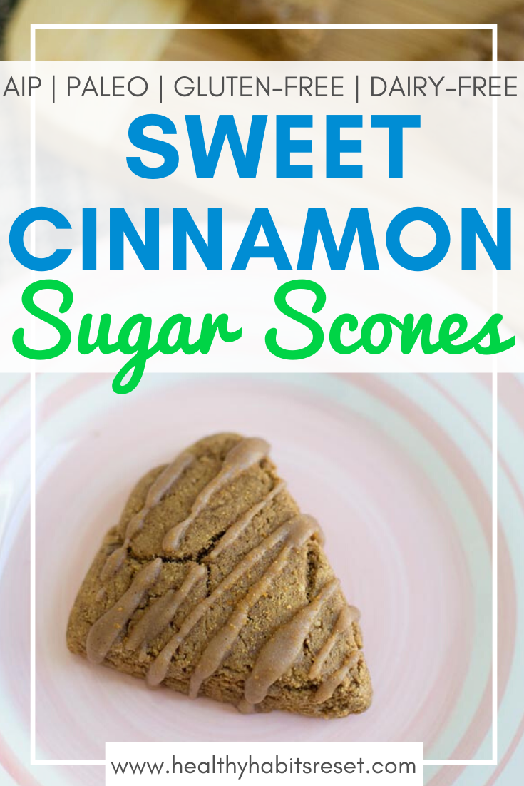 cinnamon scone on pink and white plate with text overlay - Sweet Cinnamon Sugar Scones (AIP, Paleo, Gluten-Free, Dairy-Free)