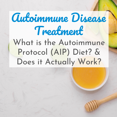 honey, tea, and avocado with text overlay - Autoimmune Disease Treatment: What is the Autoimmune Protocol (AIP) Diet? & Does it Actually Work?