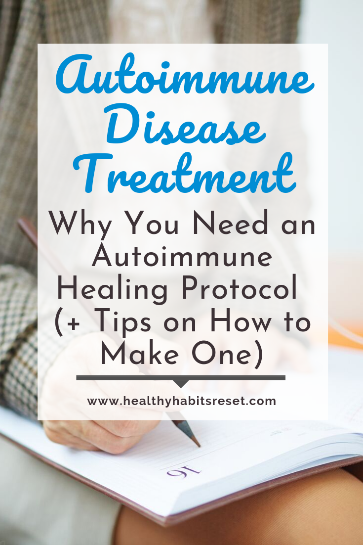 woman writing on notebook in lap with text overlay - Autoimmune Disease Treatment: Why You Need an Autoimmune Healing Protocol (+ Tips on How to Make One)